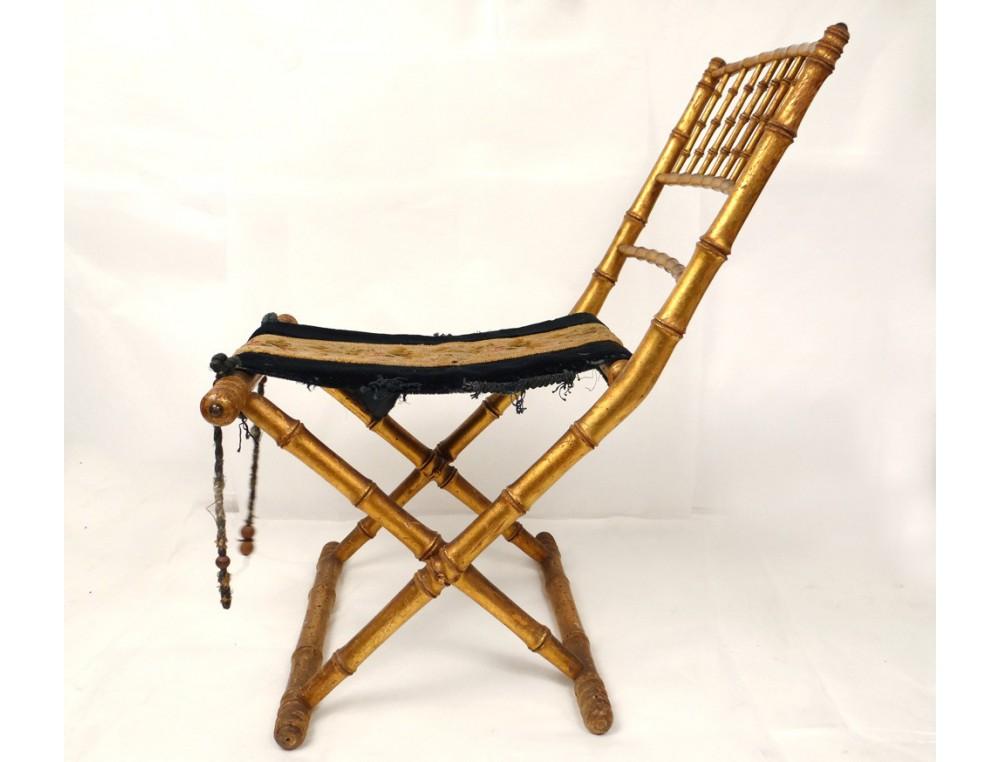 Gilded wood folding chair bamboo embroidery flowers Napoleon III nineteenth c
