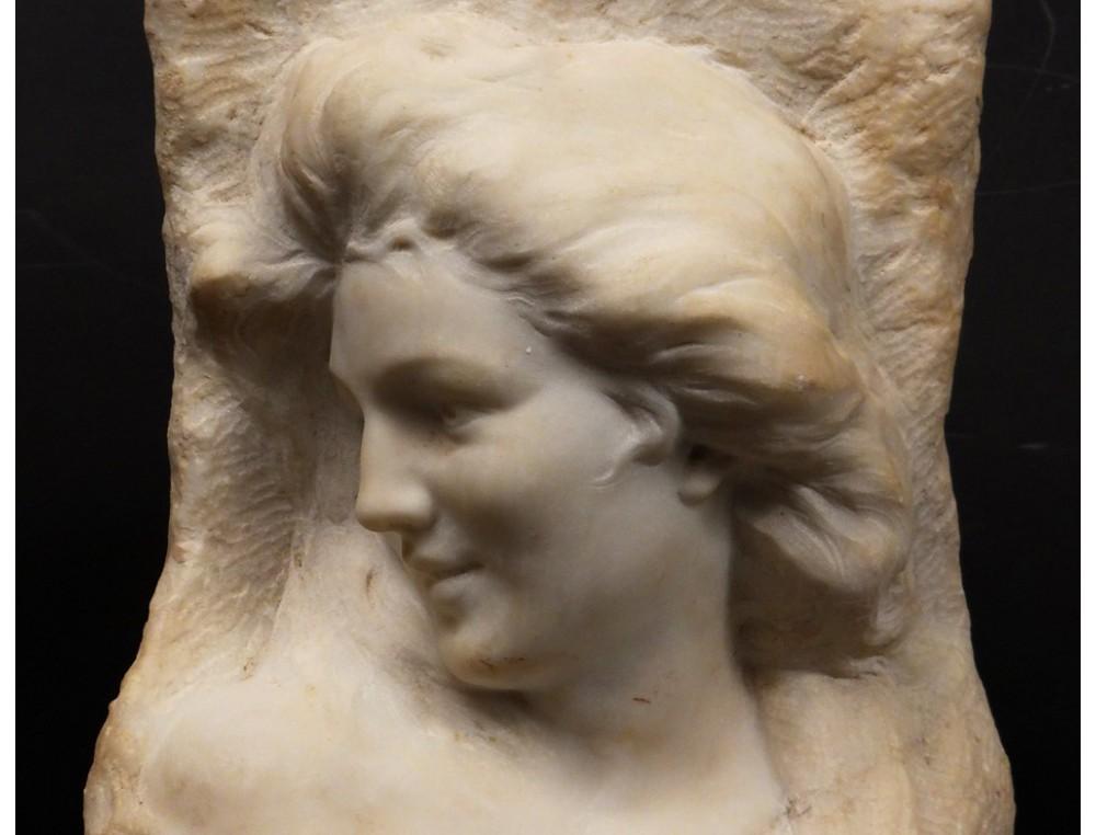 Carrara Marble Bust Sculpture Ancient Vestal Woman F