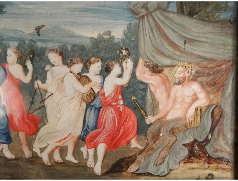 Gouache Mythological Satyr Pan Bacchanalia Bacchus Ancient
