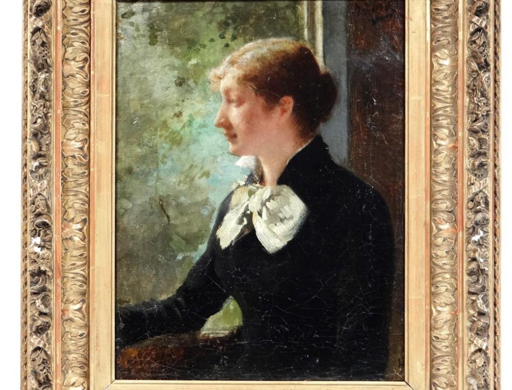 Hst Impressionist Painting Portrait Young Elegant Woman H