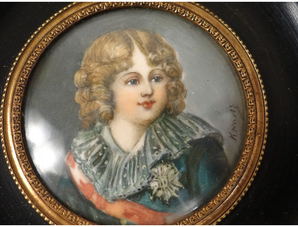 Miniature Painted Portrait Child King Rome Napoleon Ii