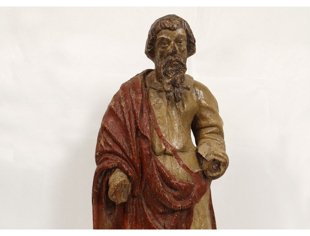 Polychrome Wood Sculpture Statue Apostle Saint Prophet