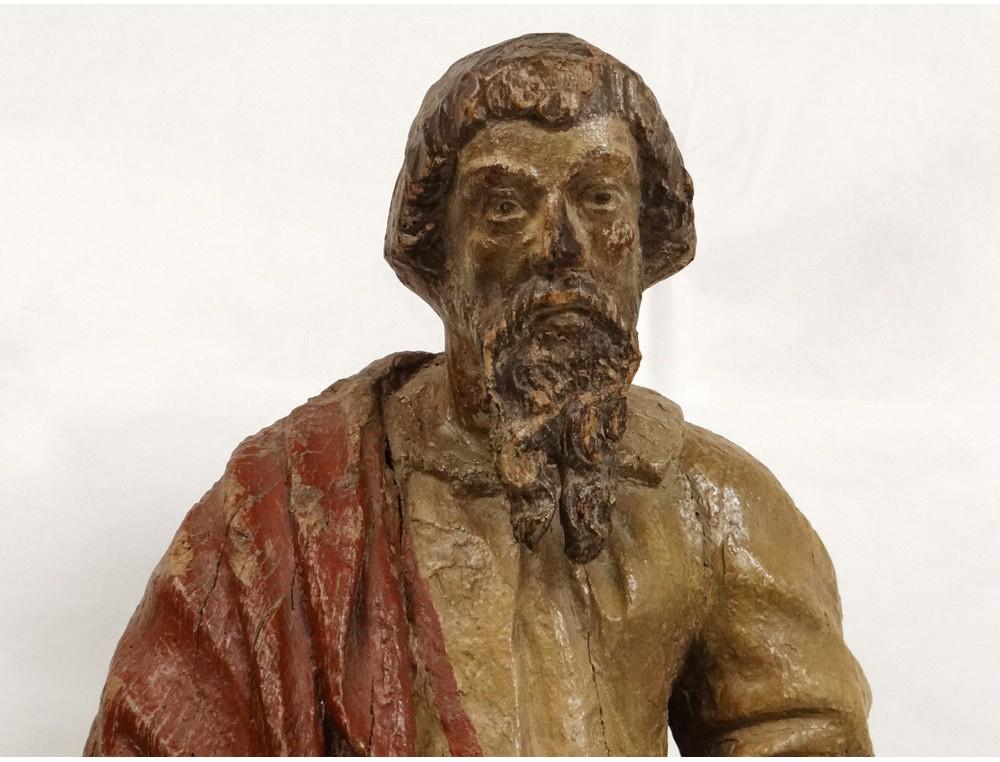 Polychrome Wood Sculpture Statue Apostle Saint Prophet