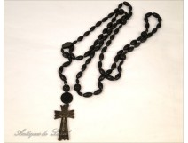 Large rosary rosary crucifix cross corozo Remember Lourdes nineteenth century