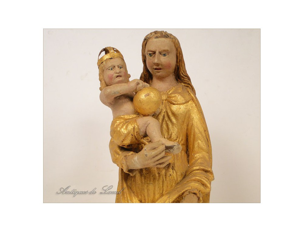 Madonna And Child Sculpture In Gilded Wood Seventeenth