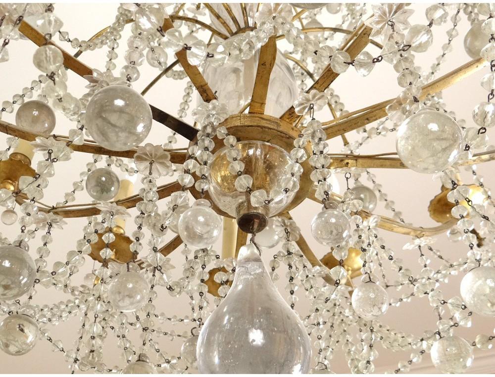 best grand lustre corbeille x lumires boules cristal verre bronze dor xvii with lustre boule cristal. Black Bedroom Furniture Sets. Home Design Ideas