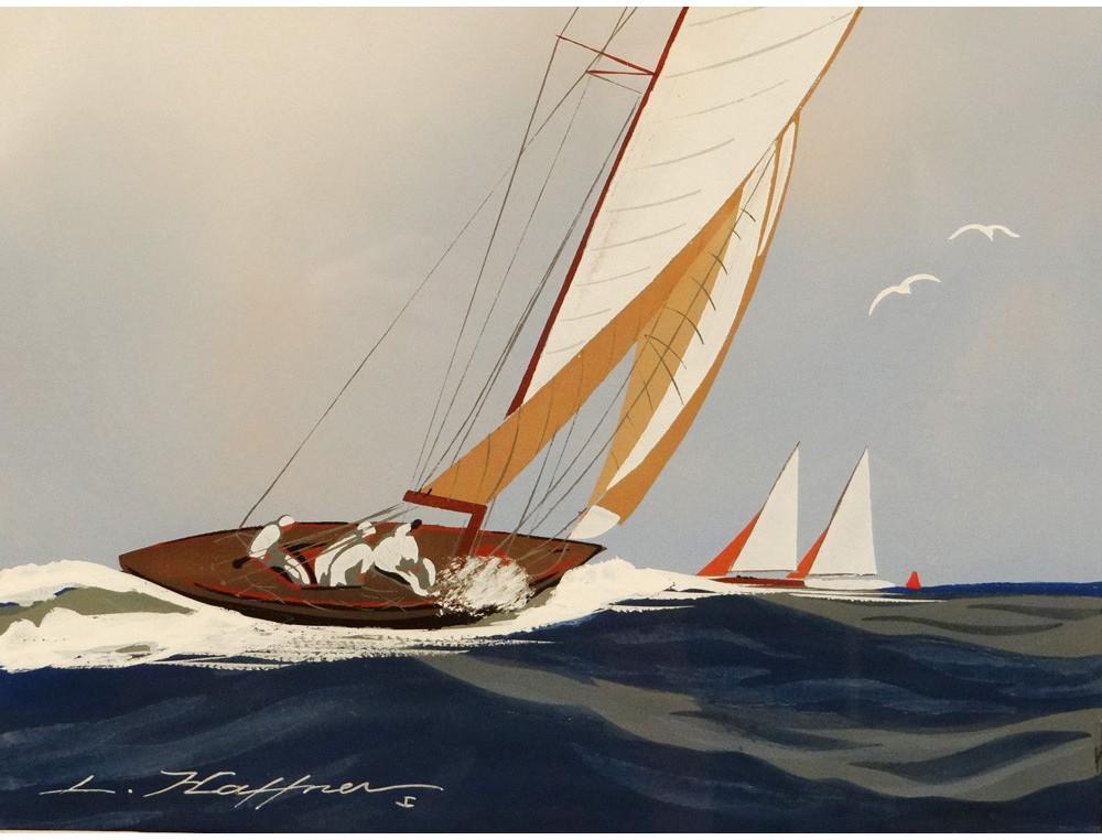 Gouache Marine Boat Yacht Sailboat Regatta Wed L 233 On