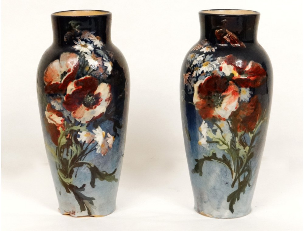 Ceramic Earthenware Vases Pair Impressionist Flower Nineteenth