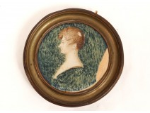 Miniature painted portrait profile young woman nineteenth century Empire