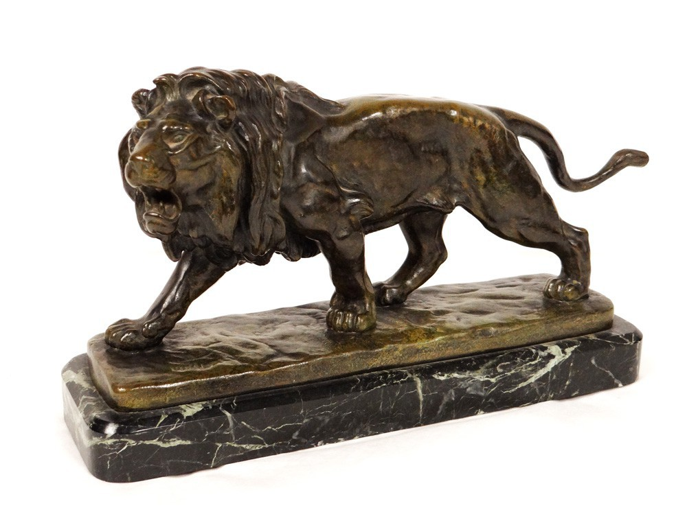 bronze sculpture marble lion roaring nineteenth blind sculptor louis vidal. Black Bedroom Furniture Sets. Home Design Ideas