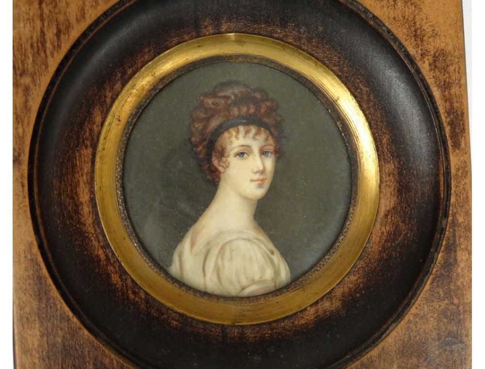 Peite Miniature Portrait Of Juliette Recamier Ad David