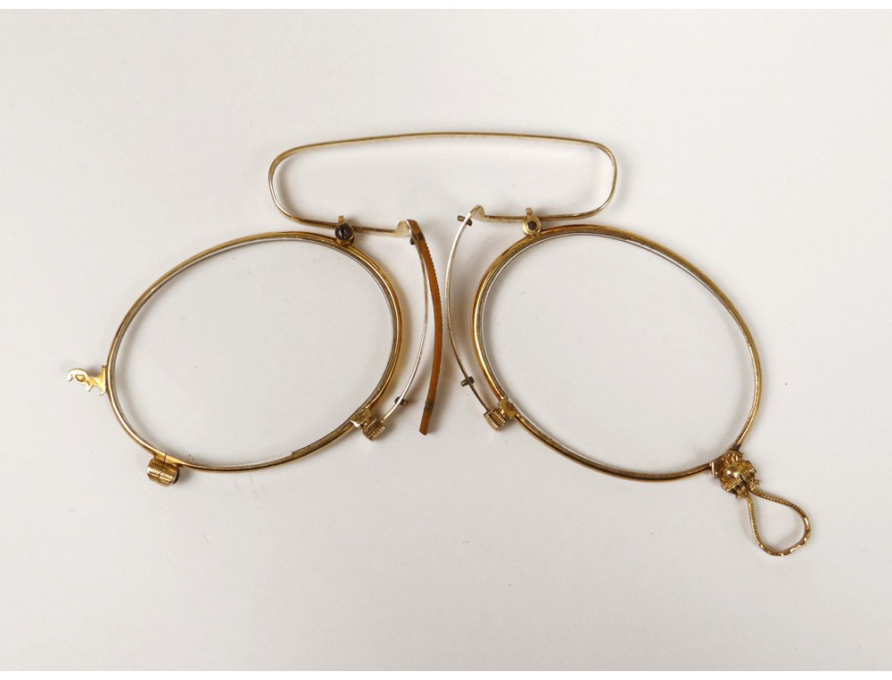 Pince-nez glasses eyeglass solid 18k gold eagle head ...