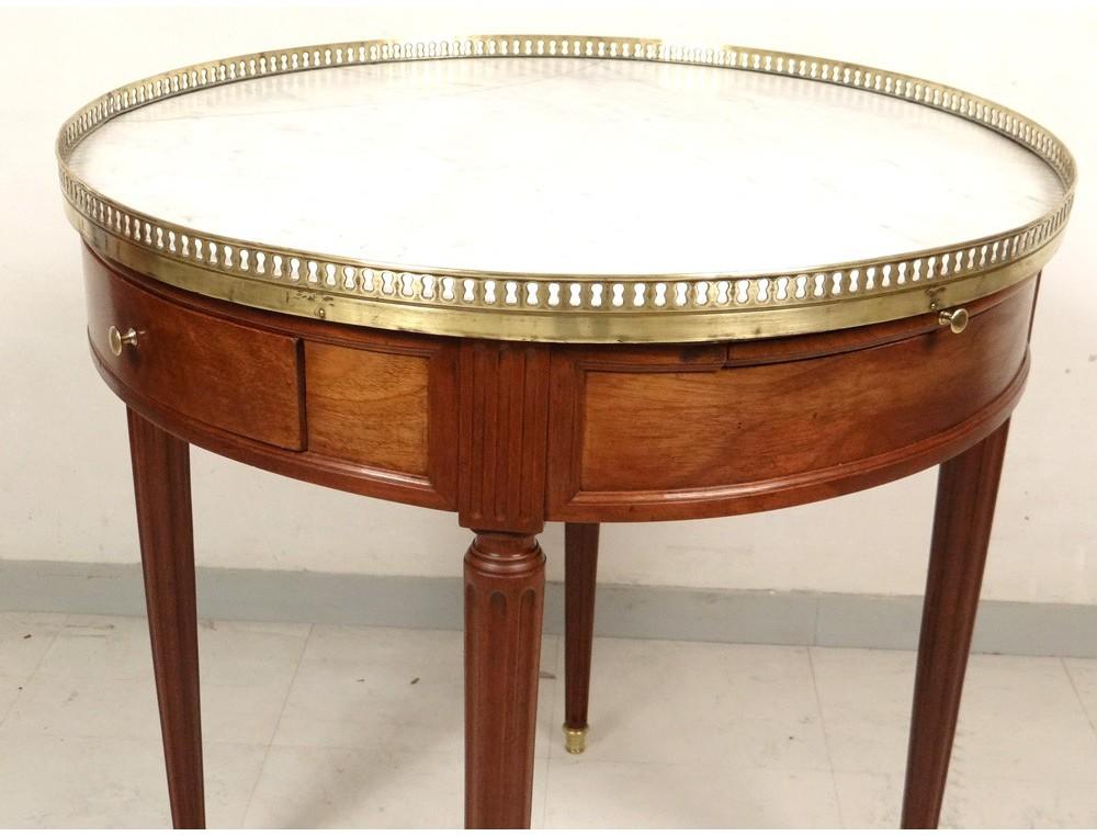 Table Bouillotte Louis Xvi Bouchon Acajou Marbre Laiton Napoleon