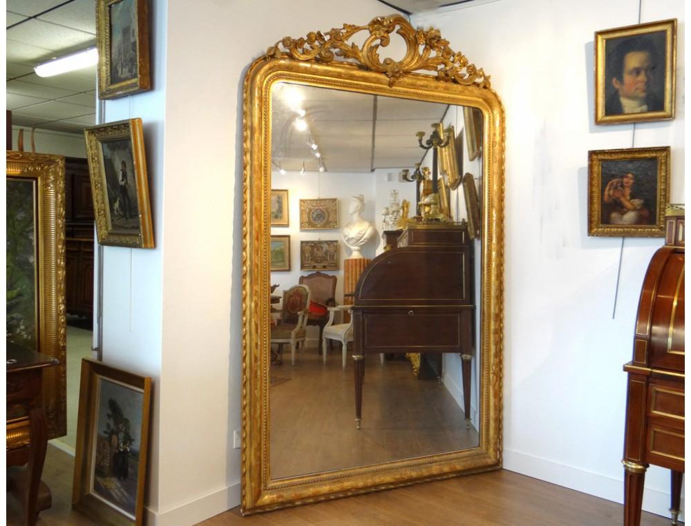 Large mirror glass wood stucco golden flowers foliage for Miroir napoleon