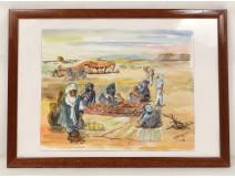 Orientalist watercolor camel caravan desert Afghanistan Brisgand twentieth