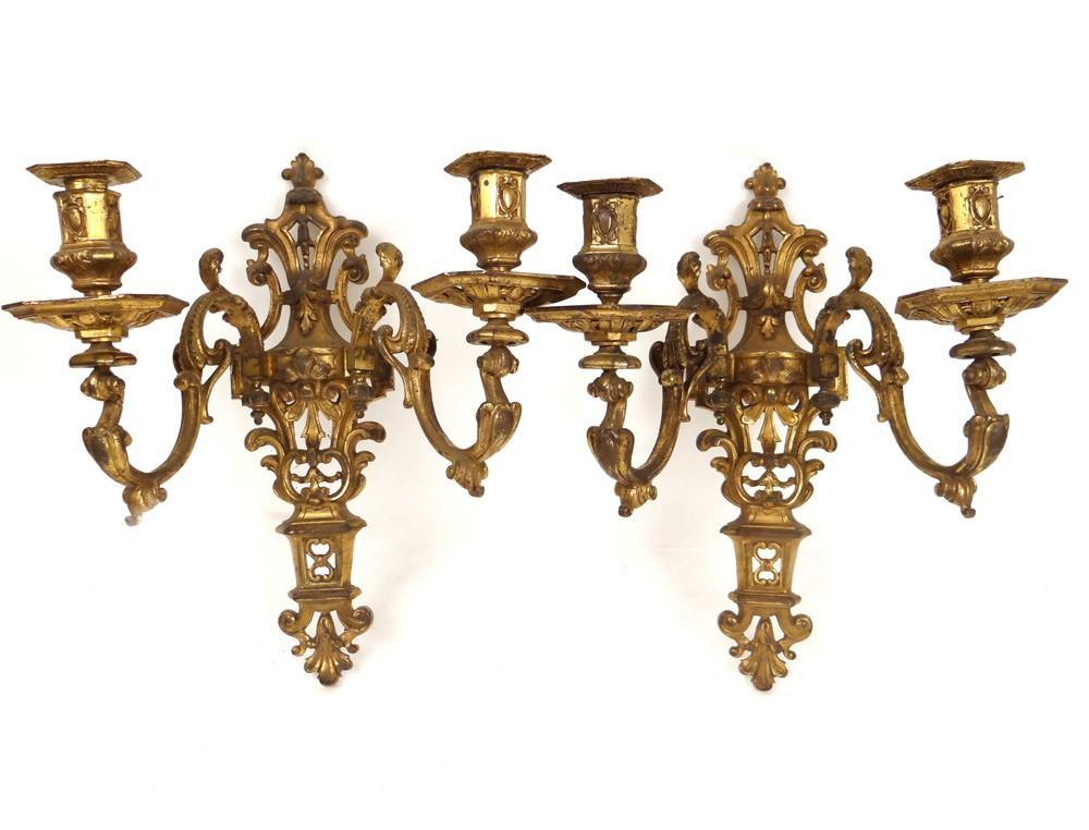 Wall Sconces For Plants : Pair Regency gilt bronze wall sconces flowers shells nineteenth century