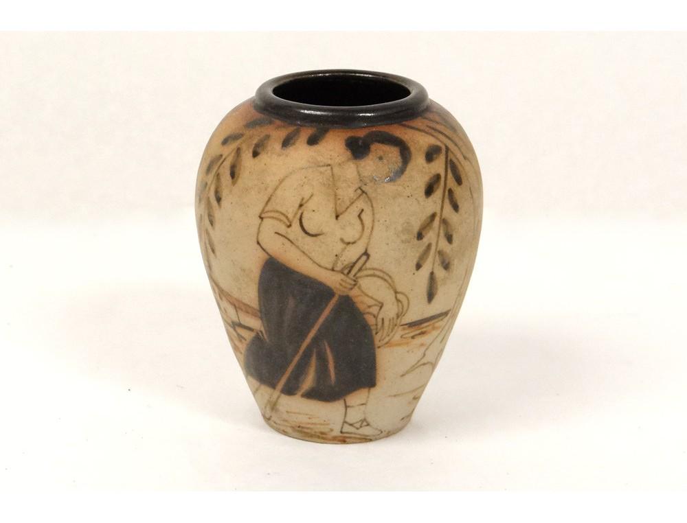 Small Stoneware Pottery Vase Ciboure Basque Woman Donkey Cart Town Twentieth