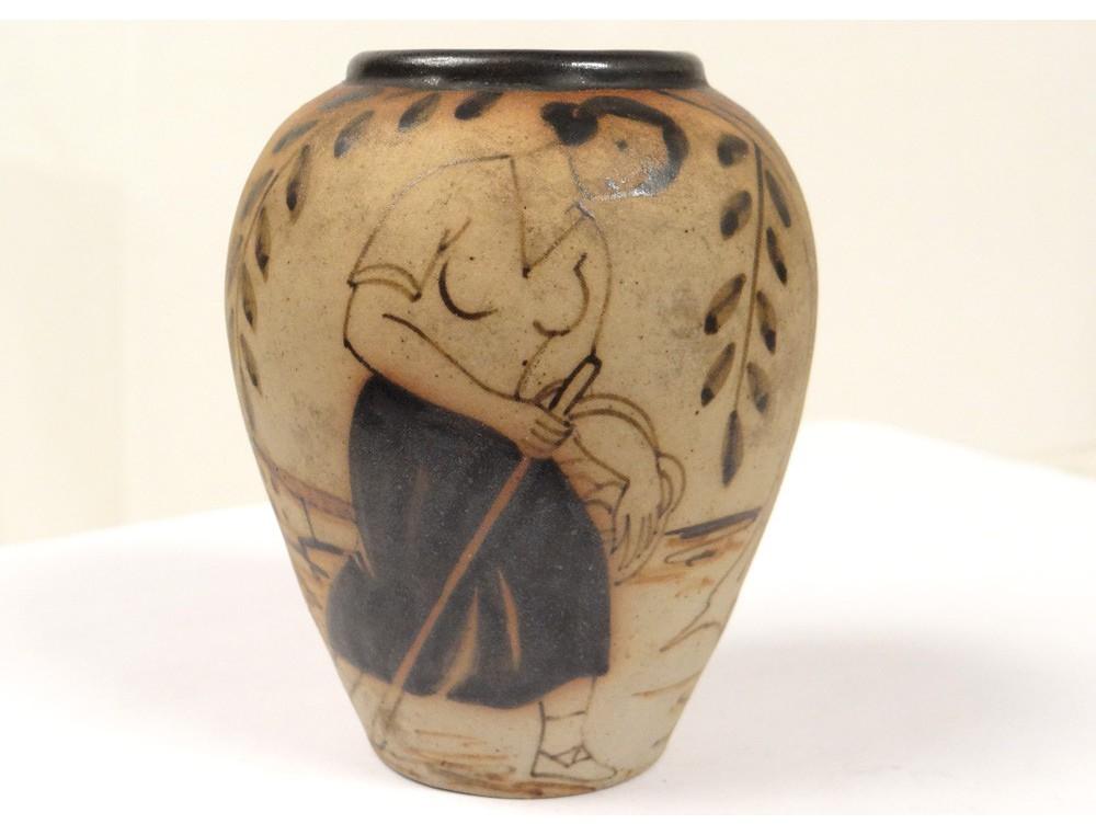 small stoneware pottery vase ciboure basque woman donkey cart town twentieth. Black Bedroom Furniture Sets. Home Design Ideas