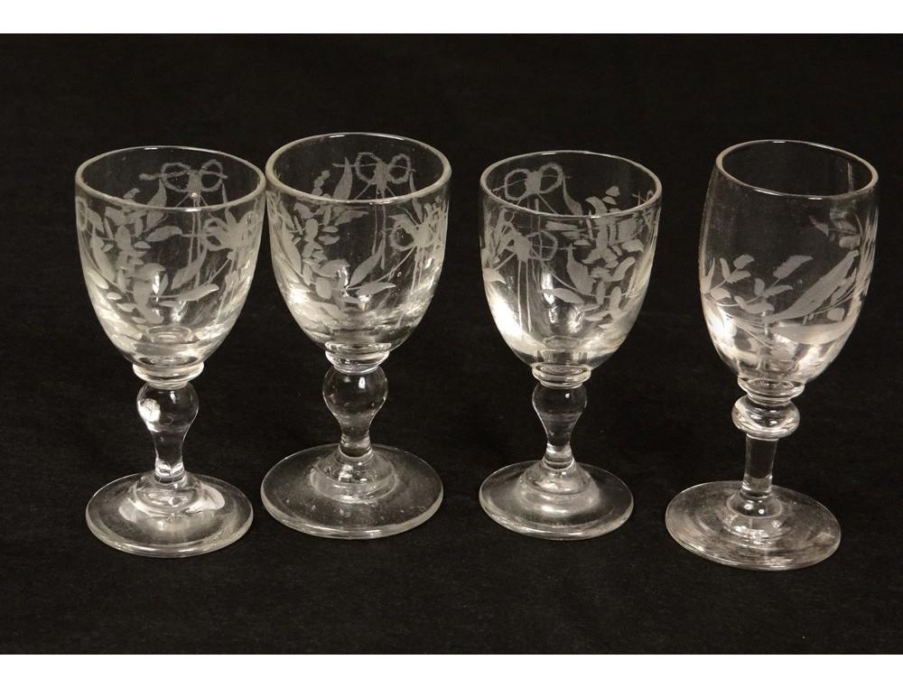 4 shot glasses engraved crystal glass flowers antique french glass nineteenth. Black Bedroom Furniture Sets. Home Design Ideas