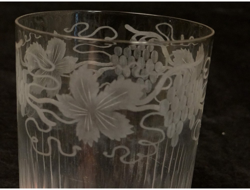 Large Glass Goblet Engraved Crystal Glass French Grape
