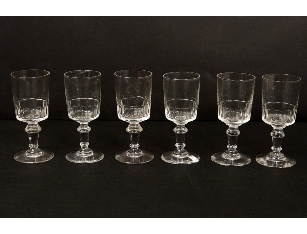 6 Stemware Liquor Antique Crystal Glass French Nineteenth