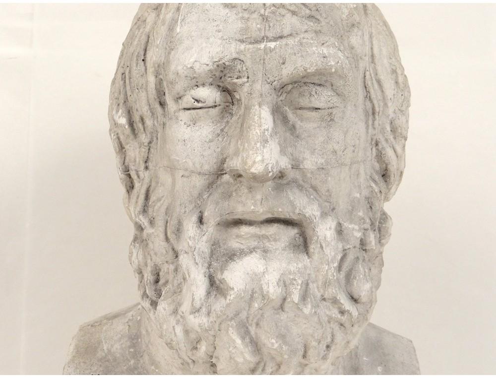 Plaster Bust Sculpture Man Figure Greek Philosopher