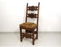 Renaissance carved walnut chair lilies women flesh seventeenth century