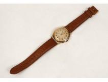 Wristwatch 18 carat gold Dermont Incabloc Swiss leather watch twentieth