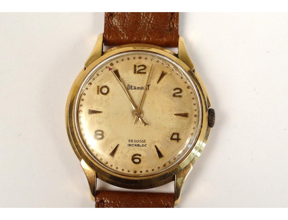 Exceptionnel Montre bracelet or massif 18 carats Dermont Suisse Incabloc cuir  BQ61