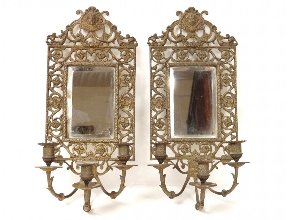 Pair wall lights louis xiv gilt bronze figures napoleon - Appliques murales interieures ...