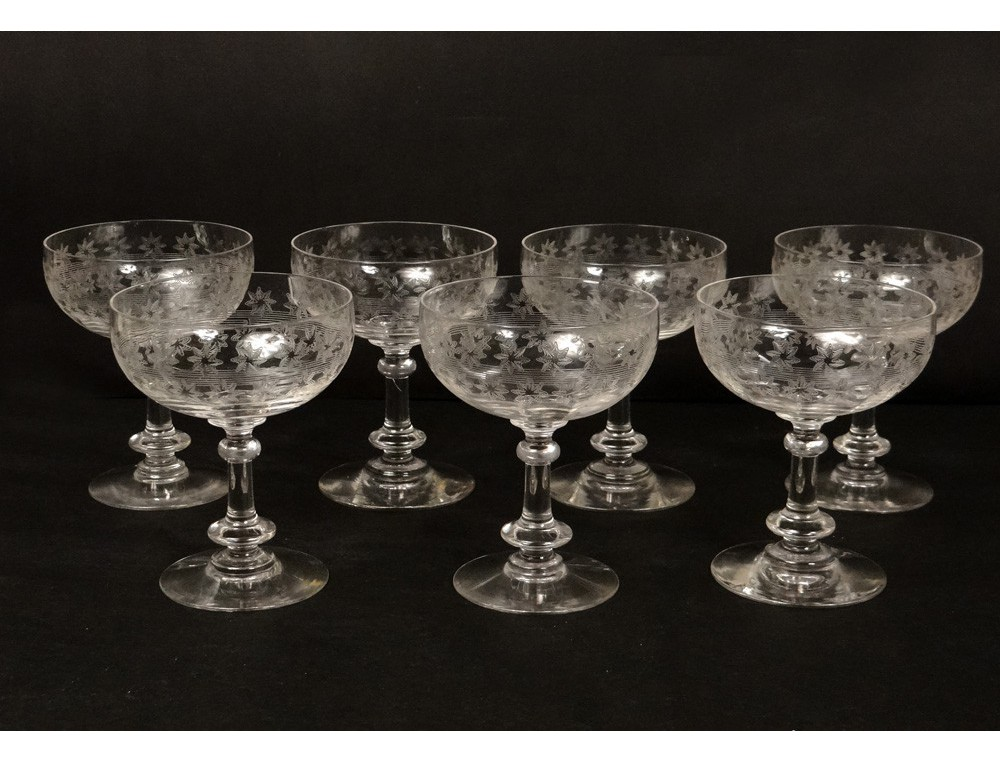 7 champagne glasses crystal cut glass french antique stars ...