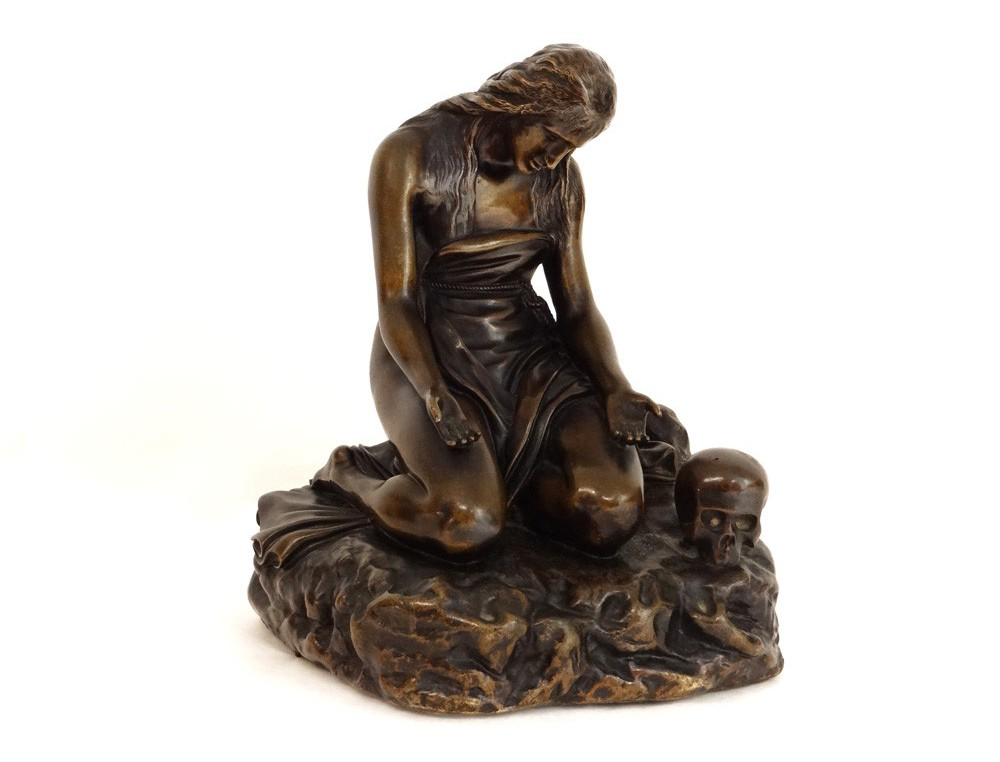 Bronze Statue Sculpture Mary Magdalene At The Vanity Braux