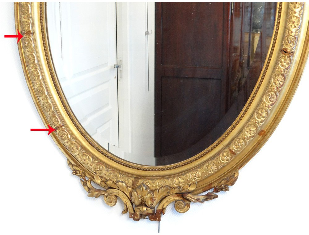 Oval Mirror Wood Frame Stucco Golden Flower Ice Bizaut 233 E