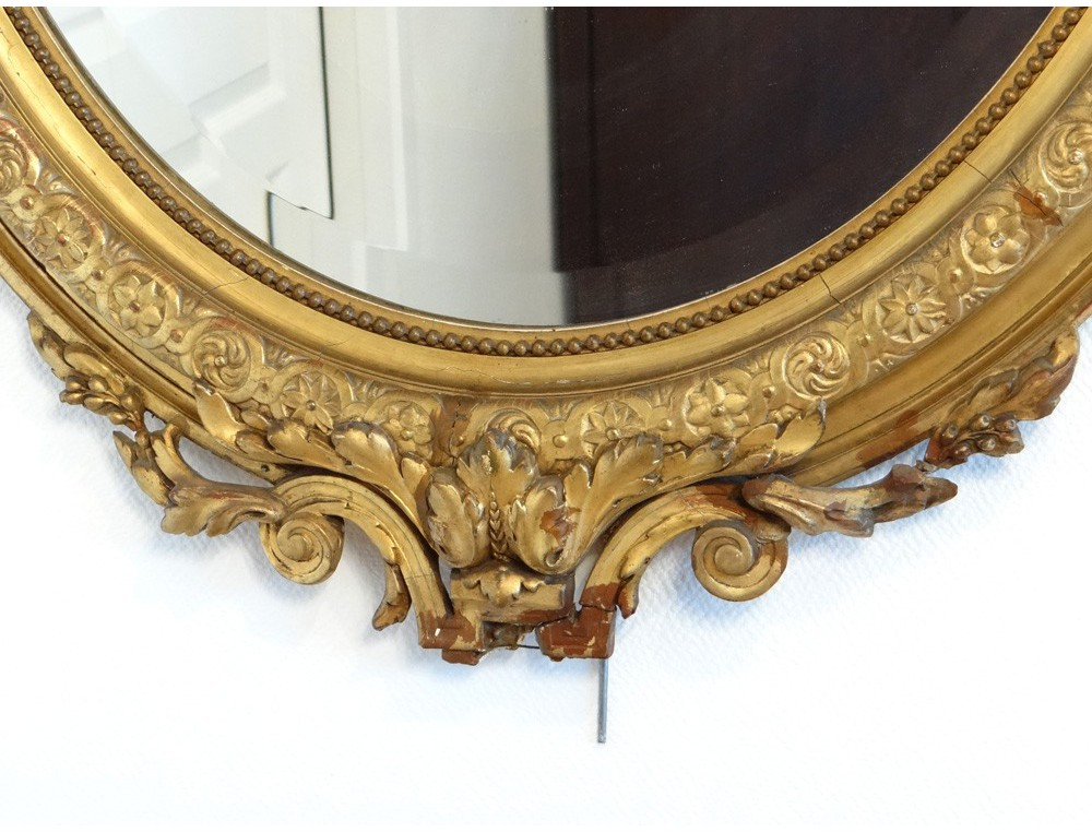 Oval Mirror Wood Frame Stucco Golden Flower Ice Bizautée Louis Philippe Nineteenth