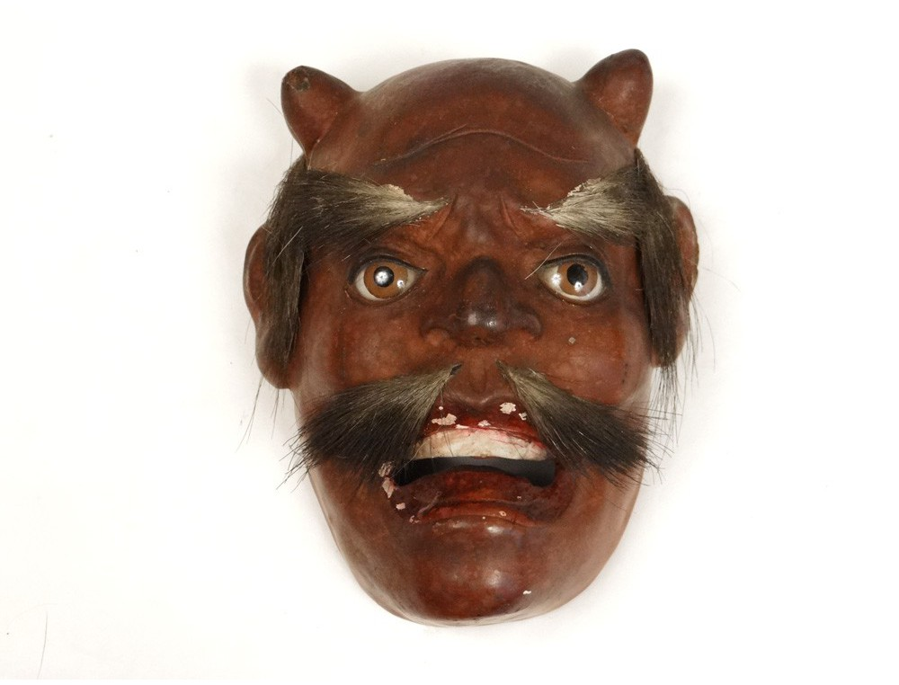 Noh theater mask polychrome demon Gigaku O-Edo Japan ...