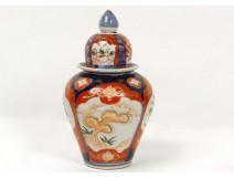 Imari porcelain covered jar vase flowers landscape nineteenth century Japan