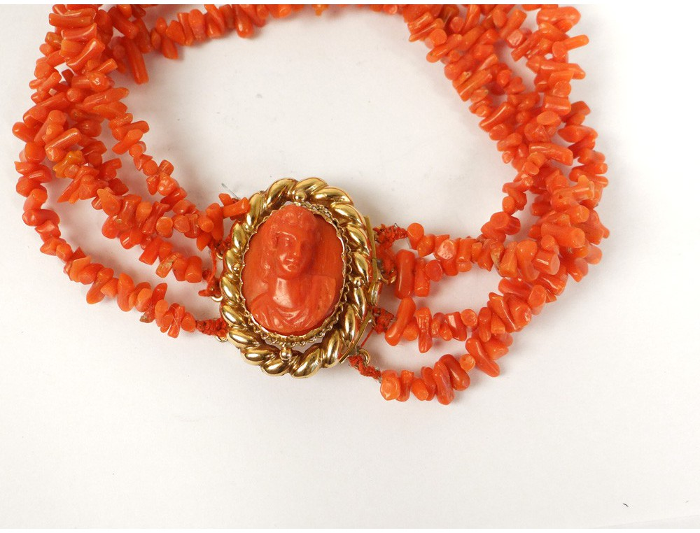 18k Solid Gold Bracelet Coral Cameo Young Girl French