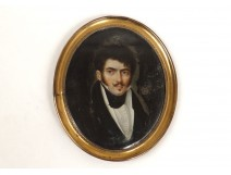 Painted miniature portrait noble gentleman mustaches Restoration nineteenth