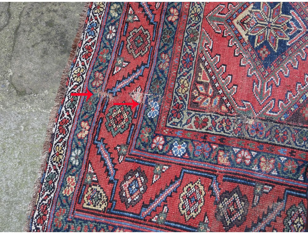 Old Carpet Knotted Persian Iran Signed Antique Twentieth Century Wool Carpet