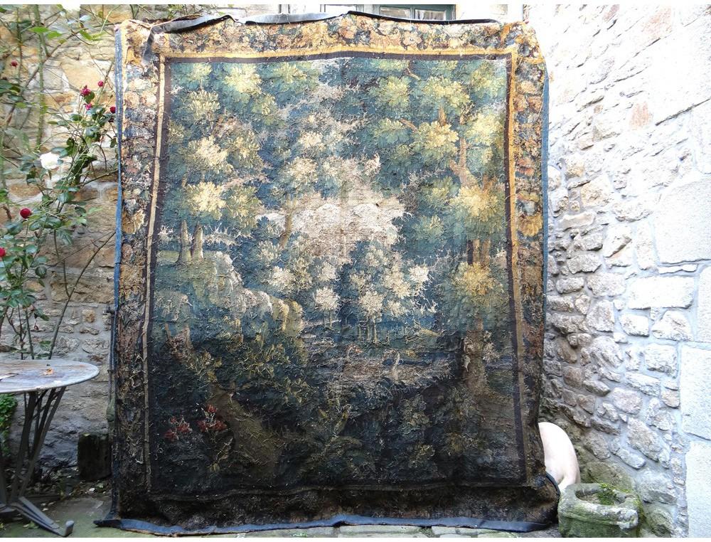Aubusson Tapestry Landscape Swans Bird Park Castle Forest