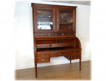 Great office cylinder showcase Louis XVI mahogany solid lock clover 18th