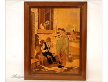Marquetry panel, Rosenau, Men of a Corsican Village, 20th