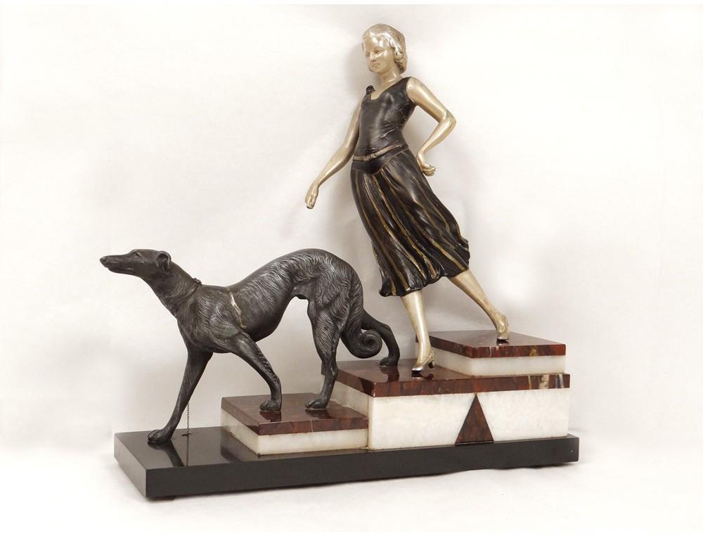 Sculpture Elegant Woman Dog Greyhound Greyhound Nineteenth
