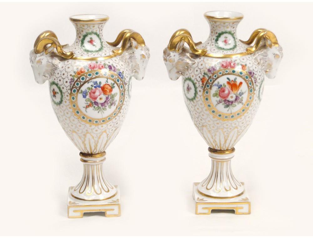 Medici Porcelain Vases Pair Dresden Saxony Germany Rams Nineteenth