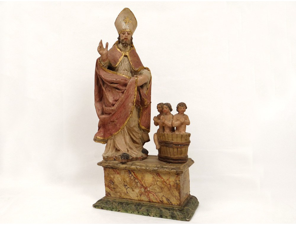 Rare Polychrome Wood Sculpture Saint Nicolas Bishop