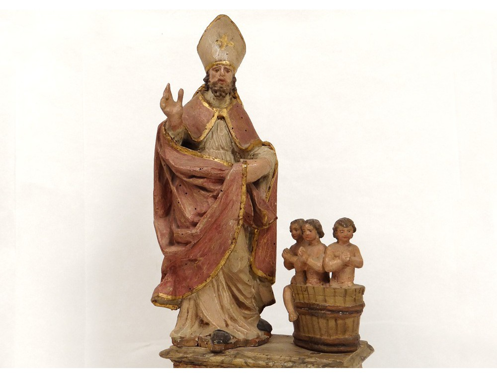 Rare Polychrome Wood Sculpture Saint Nicolas Bishop