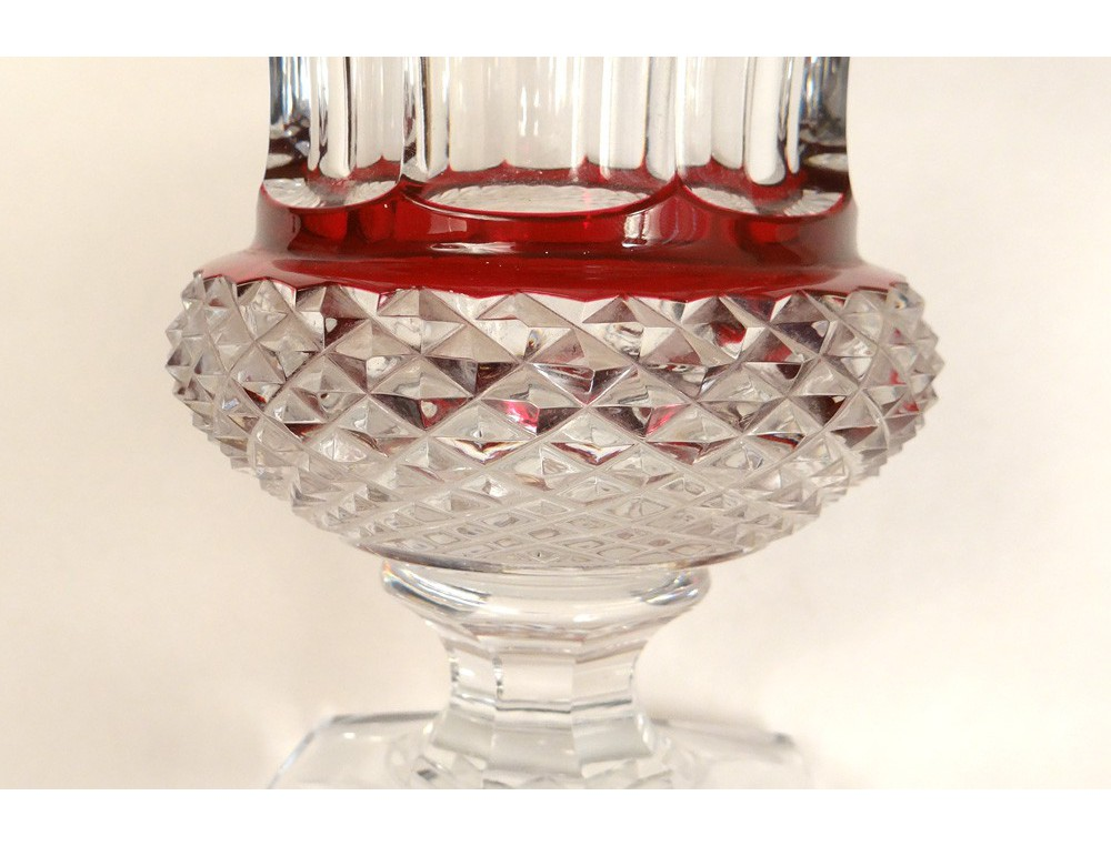 Cut Crystal Vase St Louis France Versailles Thistle Red Crystal Twentieth