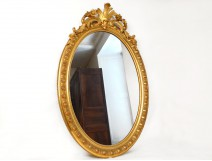 Louis XV oval mirror glass wooden frame stucco golden flowers Napoleon III nineteenth
