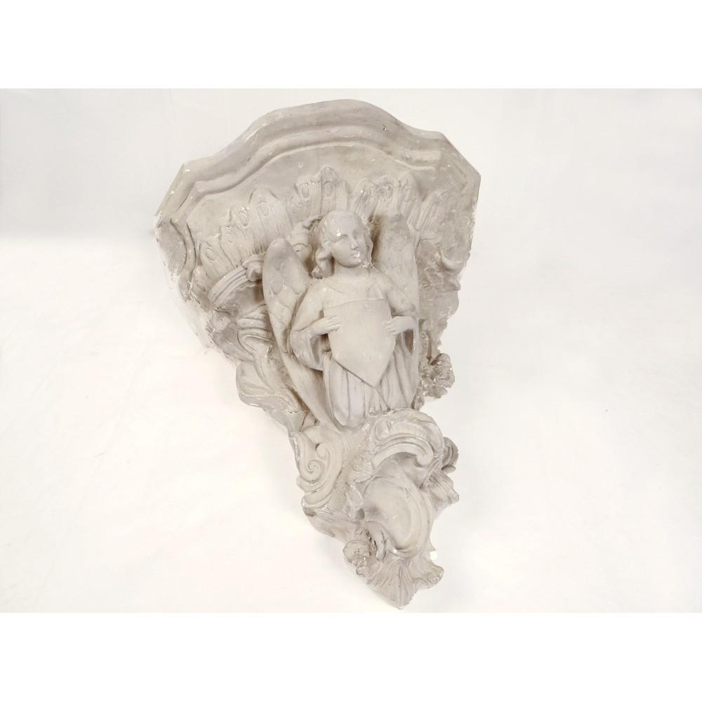 Grande console d 39 applique murale pl tre angelot blason for Applique murale en pierre
