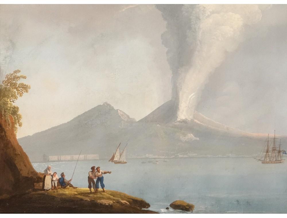 Rare Neapolitan Gouache Eruption Vesuvius Italy Boat 1822